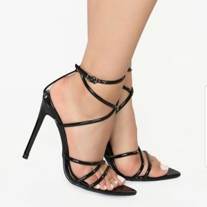 FashionNova Cape Robbin Black Strappy Heels